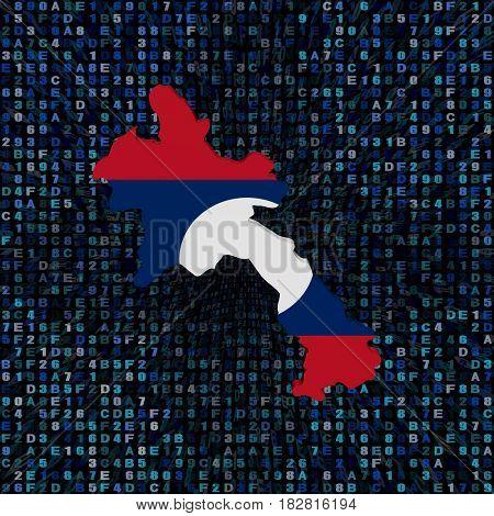 Laos map flag on hex code 3d illustration