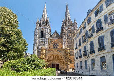 Gorhic facade of Sainte-Marie de Bayonne cathedral in Bayonne Nouvelle Aquitaine France