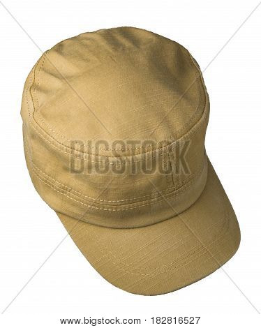 Cap Isolated On White Background. Cap With A Visor. Beoge Cap