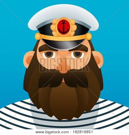 Portrait of captain. Cartoon image. Vector illustration