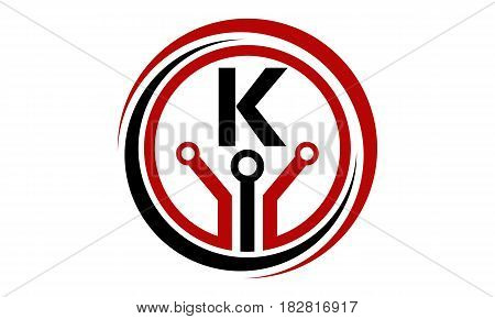 This vector describe about Digital World and Electrical Connections Initial K