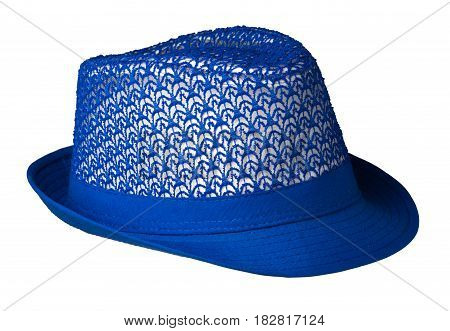 Hat With A Brim .hat Isolated On White Background.blue Hat