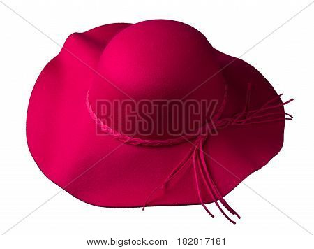 Fedora Hat. Hat Isolated On White Background . Red Hat