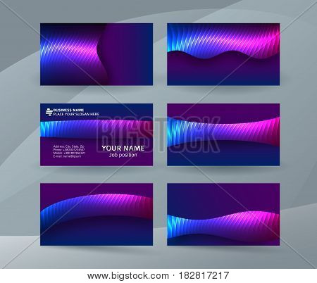 Business Card Background Blue Magenta Neon Effect04