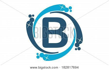 This vector describe about Water Clean Service Abbreviation Letter B