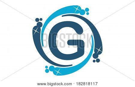 This vector describe about Water Clean Service Abbreviation Letter G