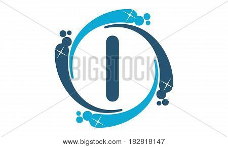 This vector describe about Water Clean Service Abbreviation Letter I