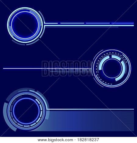 A set of futuristic rings. Graphic resources for designing fantastic art works. Vector illustration.