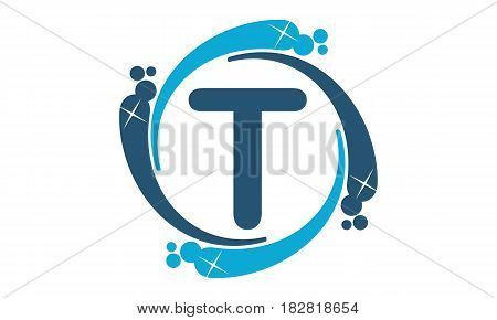 This vector describe about Water Clean Service Abbreviation Letter T
