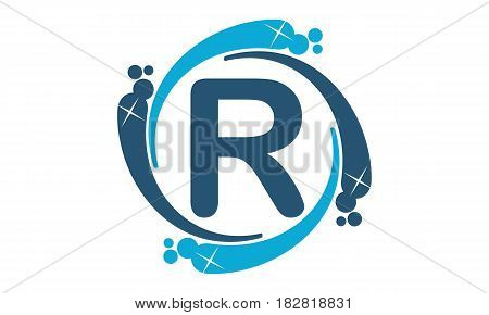 This vector describe about Water Clean Service Abbreviation Letter R