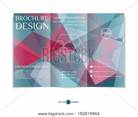 Tri-fold brochure template with modern geometric background. Three-fold leaflet design with random shapes. Vector illustration.
