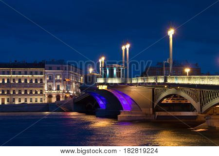 Blue August night at the Annunciation Bridge. Saint-Petersburg. Russia