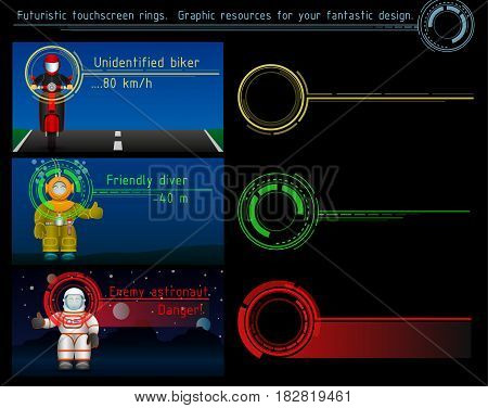 Futuristic touchscreen rings. Graphic resources for your fantastic design. Vector illustration.