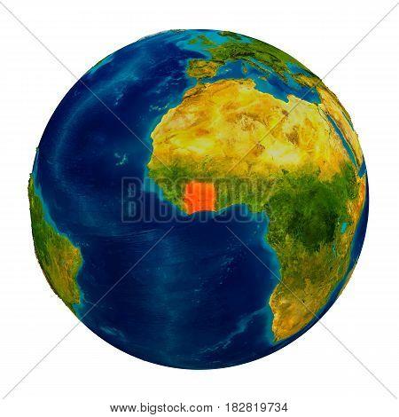 Ivory Coast Highlighted On Globe