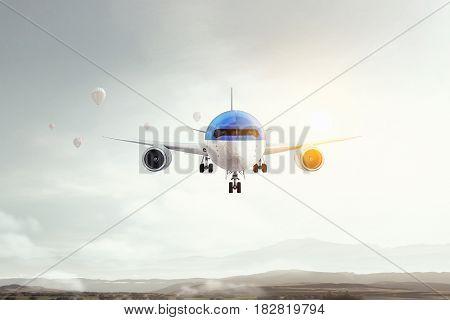 Airplane in day sky. Mixed media . Mixed media