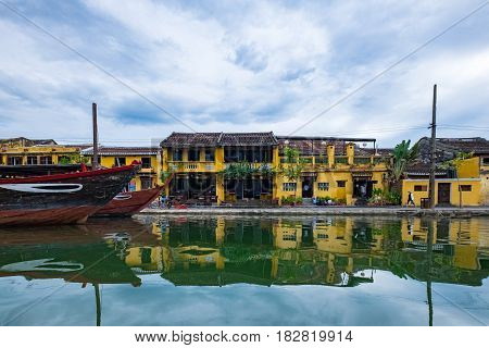 Hoai river in ancient Hoian town on January 26, 2015