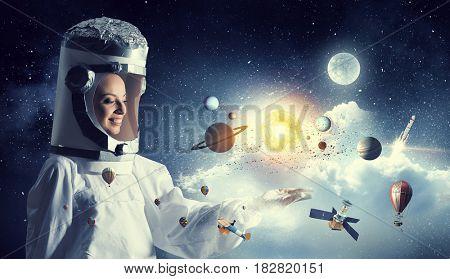 Dreaming to explore space . Mixed media . Mixed media