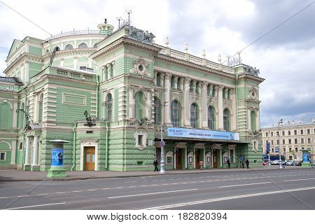 SAINT-PETERSBURG, RUSSIA - JUNE 18, 2016: Front entrance of the main building of the Mariinsky Theater close-up on a cloudy June day