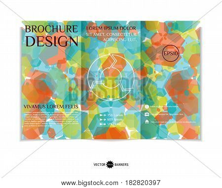 Tri-fold brochure template with modern geometric background. Three-fold leaflet design with hexagons. Vector illustration.