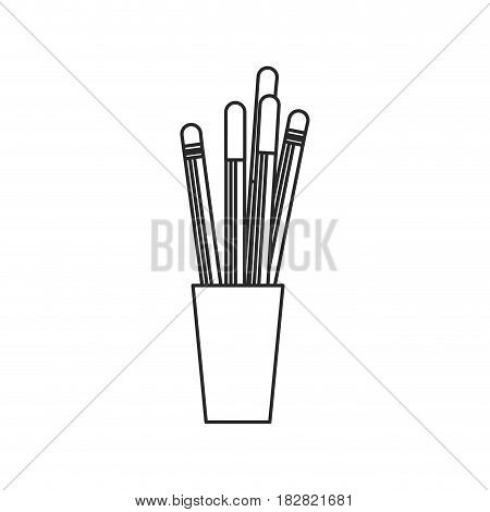 cup with pencil pen utensils outline vector illustration eps 10