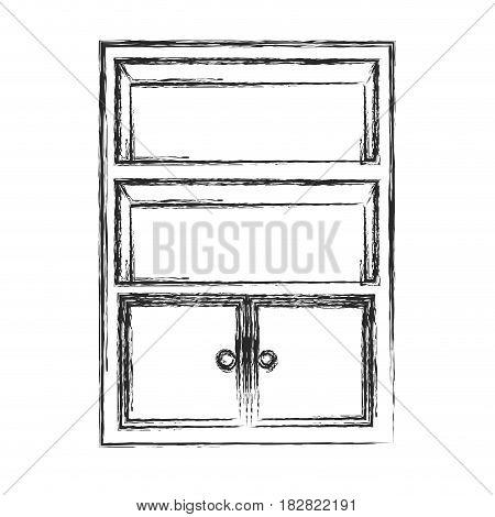 bookcase furniture wooden sketch vector illustration eps 10