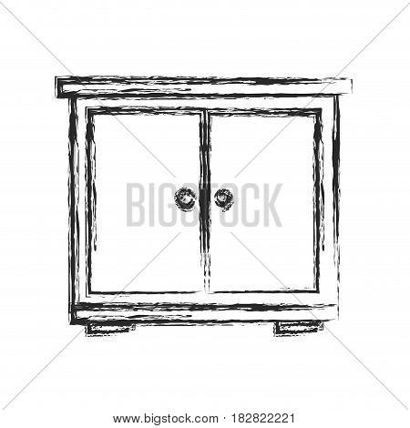 bedside table wood furniture sketch vector illustration eps 10