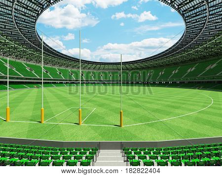 3D Render Of A Round Australian Rules Football Stadium With  Green Seats And Vip Boxes