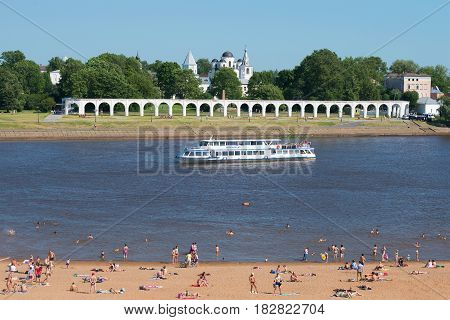 VELIKY NOVGOROD, RUSSIA - JULY 04, 2015: July landscape with the Volkhov river in the center of Veliky Novgorod