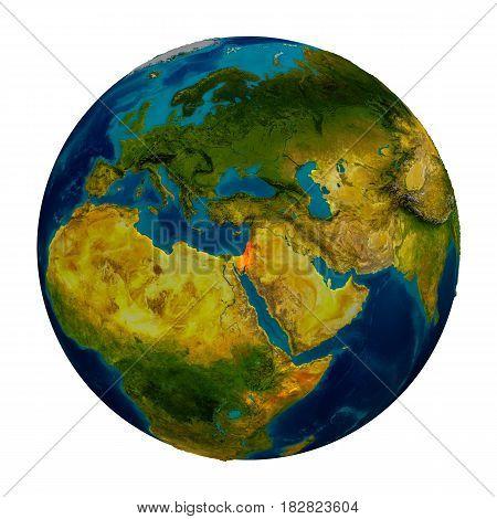 Israel Highlighted On Globe