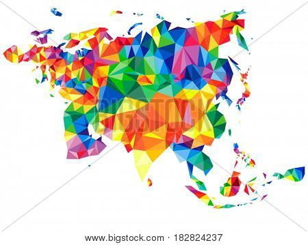 Abstract continent of Eurasia with islands from triangles. Origami style. Polygonal pattern for your design.