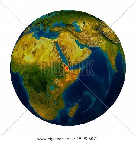 Djibouti Highlighted On Globe