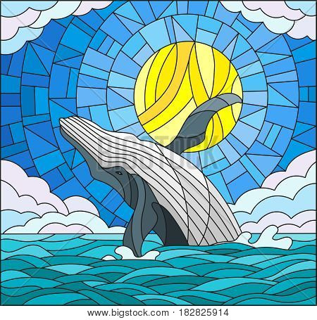Illustration in stained glass style with a whale on the background of water cloud sky and sun