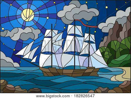 Illustration in stained glass style with sailboats against the starry sky the sea and the moon