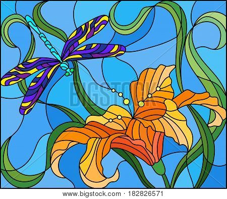 Illustration in stained glass style with bright dragonfly against the sky foliage and flower of Lily
