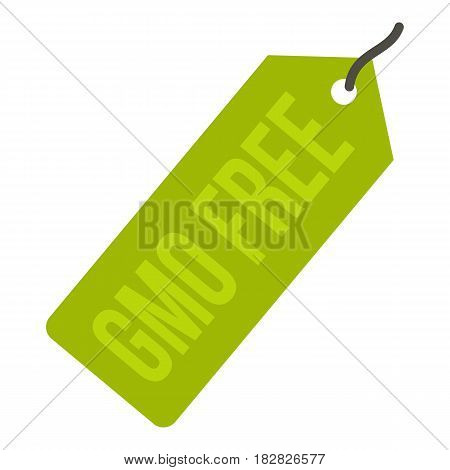 GMO free green price tag icon flat isolated on white background vector illustration