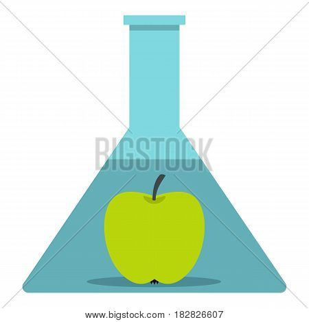 Green apple in glass test flask icon flat isolated on white background vector illustration