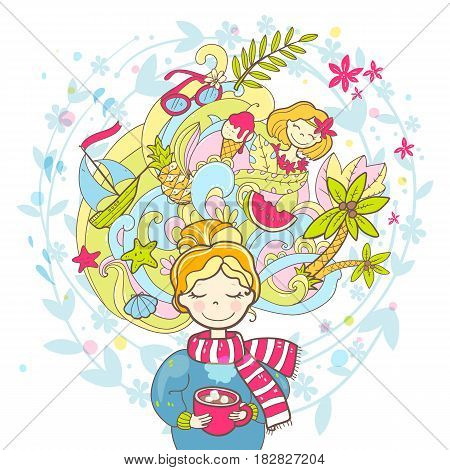 A sweet rosy dreaming girl with a cup of drink. Thoughts of travels, adventures. Vector hand drawn illustration