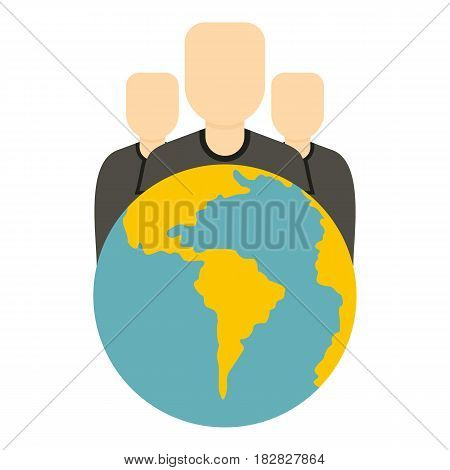 Globe and group of people icon flat isolated on white background vector illustration