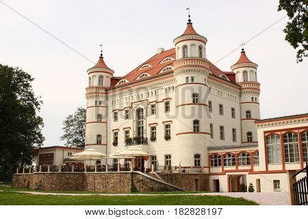 Palace in Wojanow near Jelenia Gora (Poland). The palace was built in the 17th century, rebuilt in the middle of the 18th century and in the first half of the 19th century - in the neo-Gothic style. One of the most beautiful palaces in Lower Silesia.