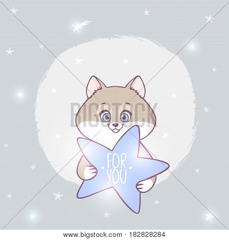 Cute and funny character cat with star. Vector illustration