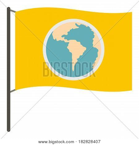 Yellow flag with the image of the globe icon flat isolated on white background vector illustration