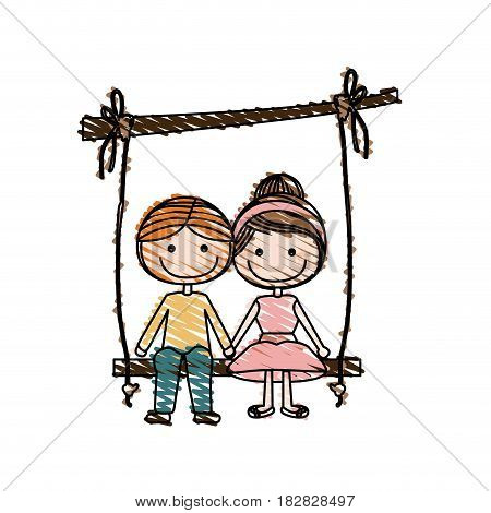 color pencil drawing of caricature blond guy and girl with collected hairstyle sit in swing hanging from a branch vector illustration