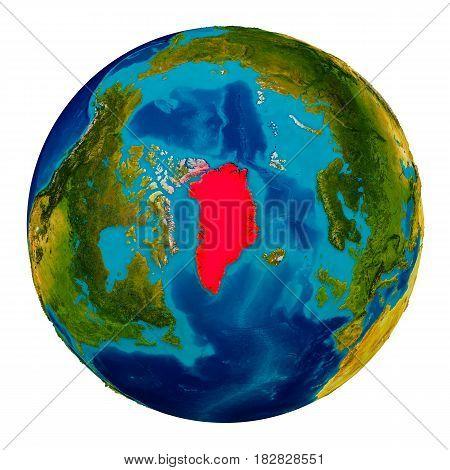 Greenland Highlighted On Globe