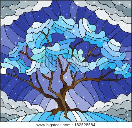 Illustration in stained glass style with winter tree on sky background with the snow