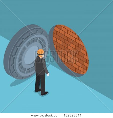 Isometric Thief With Vault Door With Brick Wall Inside