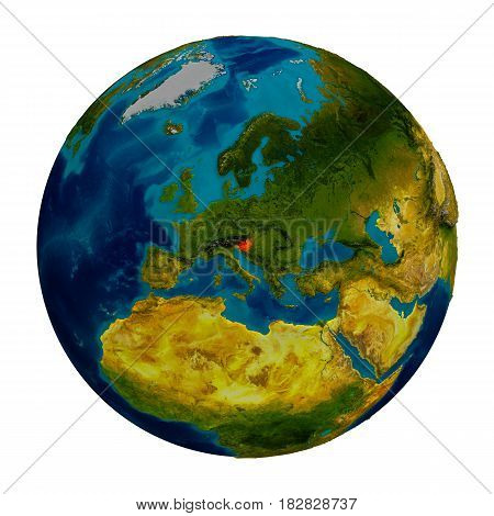 Slovenia Highlighted On Globe