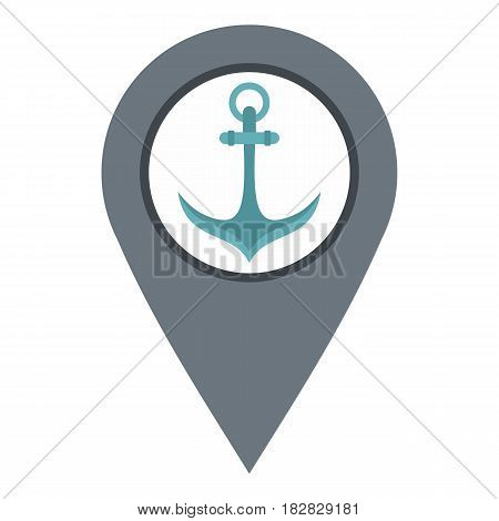 Gray map pointer with anchor symbol icon flat isolated on white background vector illustration