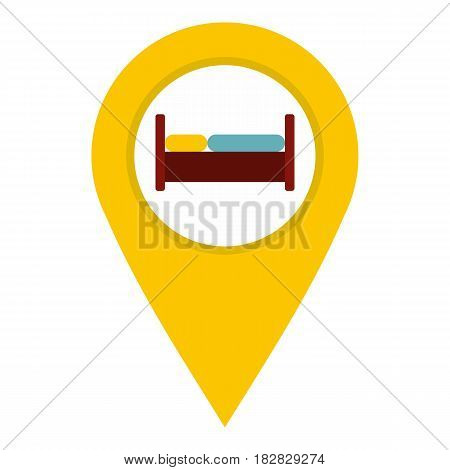 Yellow map pointer with symbol hotel or rest room icon flat isolated on white background vector illustration
