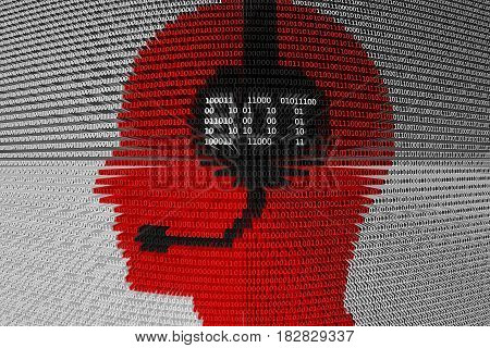 CHAT BOT as a binary code 3D illustration poster