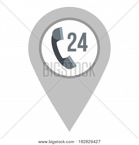 Gray map pointer with phone handset sign icon flat isolated on white background vector illustration